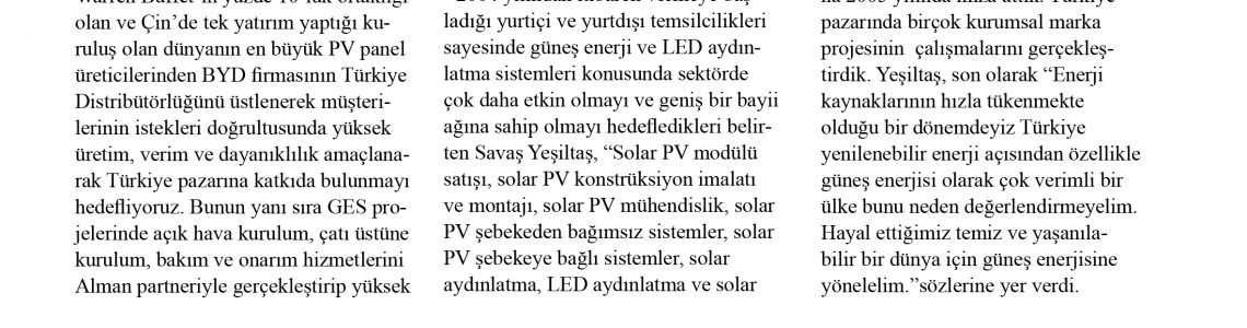 HİZMETİX Dergisi Eylül 2014 Yenilenebilir Enerji Yazımız