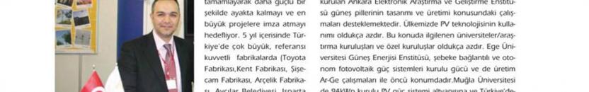 Güneş Enerjisi dergisine çıkan Türkiye'deki güneş enerjisi ile ilgili röportajımız