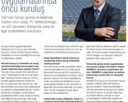 Hizmetix Dergisinden Güneş Enerjisi Uygulamalarında Öncü kuruluş yazılı Röportaj