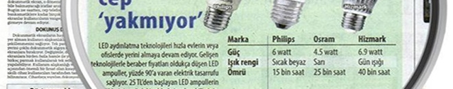 """Hürriyet: """"Ledli Ampüller Cep Yakmıyor."""""""